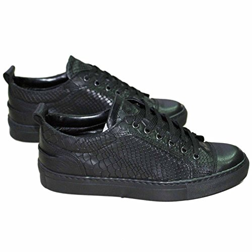 sneakers bassa pelle squamata con punta di pelle nero london made in italy (43)