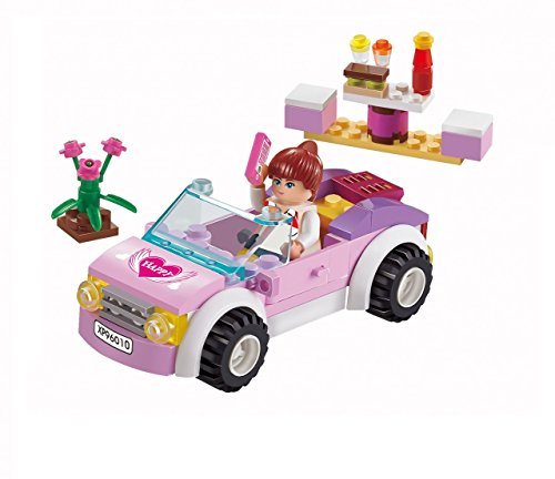 Girls Dream Building Blocks Pink Car set 88pc Includes Action Figure Compatible to Lego Parts – Great Gift for Children
