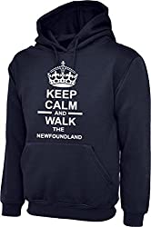 Keep Calm And Walk The foundland Dog In Navy Blue Hoody & White Text