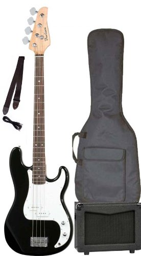 Full Size Black Electric Bass Guitar Starter Pack with Amp Case & Strap