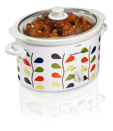 3Quart Oval Slow Cooker Leafpattern Dishwasher Saf front-251387
