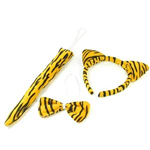 Girl 3 in 1 Girls Yellow Black Tiger Pattern Bowknot Tail Hair Hoop Band