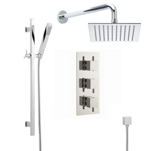 Buy Cheap Astbury Triple Thermostatic 2 Way Shower Faucet Set With Fixed Head and Square Hand Spraye...