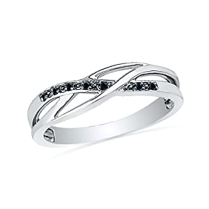 Sterling Silver Round Diamond Black Twisted Fashion Ring (1/20 cttw)