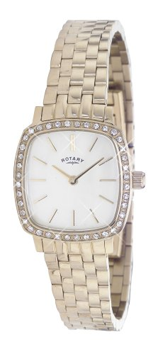 Rotary Ladies Square White Dial Gold Plated Bracelet Watch