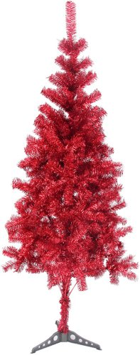 Hb 6' Ft New Sparking Gorgeous Folding Artificial Tinsel Christmas Tree Red Color