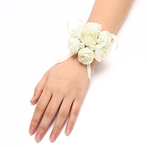 Wrist Corsage Prom Hand Flower Decor Pack of 4 Ivory