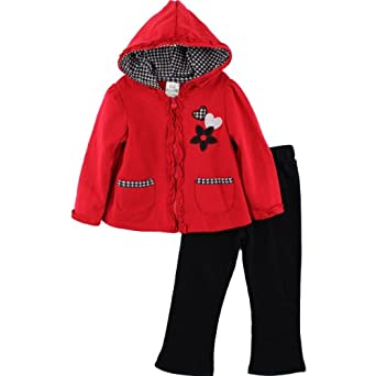 "Young Hearts ""Houndstooth Hearts"" Red Zipper Hoodie & Pants Set 2T-4T (3T)"