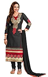 Parinaaz fashion Women's Black cotton unstitched Straight Salwar Suit dress material