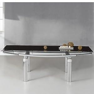 Fu-Nicha - Meuble Select - Table Extensible Mega- Verre et Chrome - Noir