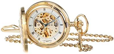 Charles-Hubert Pocket Watch 3803 Gold Plated Half Hunter