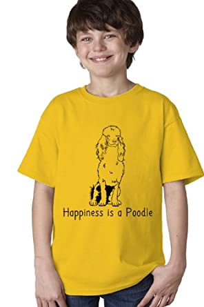 HAPPINESS IS A POODLE Youth Unisex T-shirt / Yellow Poodle Fan, Dog Lover Tee