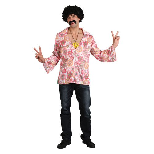 (L) Mens Retro Hippie Shirt Costume for 70s Disco Pop