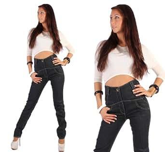 Hochschnitt pantalon jeans jean pour femme coupe droite - Jeans femme taille haute coupe droite ...