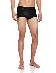 Speedo Men\'s Solid Nylon Square Leg Training Swimsuit, Black, 32