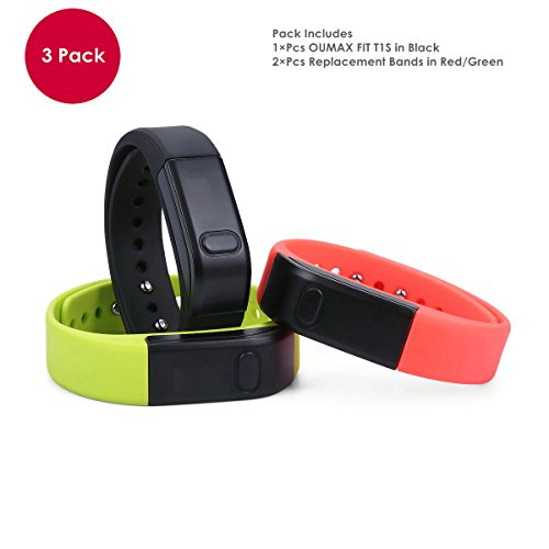 OUMAX® FIT T1S Activity and Fitness Tracker (Pack Includes 3 Colored Bands in Black/Green/Red)