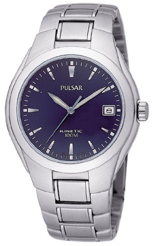 Pulsar by Seiko Gents Kinetic Blue Dial Stainless Steel Bracelet Watch PAR059P1