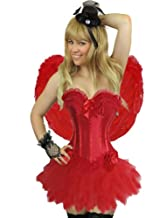 Yummy Bee Burlesque Corset & Tutu or Lace Skirt or Frilly Skirt Costume Ladies Deluxe Fancy Dress Plus Size 6-24 Blue Red Purple Pink Black Stripe (Women: 18-20, Red + Tutu)