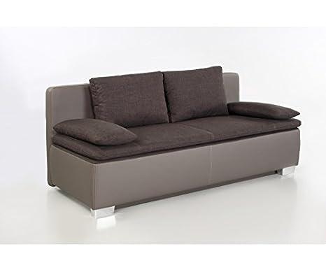 Duett braun / grau Schlafsofa Sofa 2-Sitzer Bettsofa Couch mit Bettfunktion inkl. aller Kissen 440/09 + 546/08