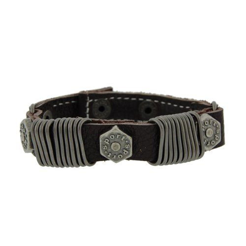 Genuine Leather Sporty Chocolate Brown Vintage Biker Bracelet