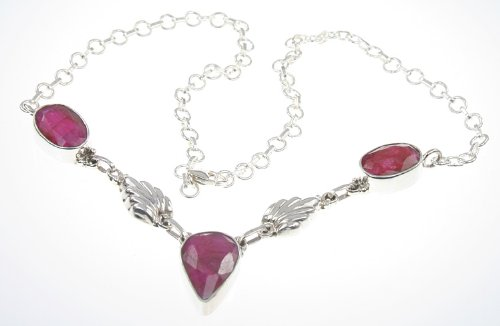 925 Sterling Silver FACETED RUBY Necklace, 17