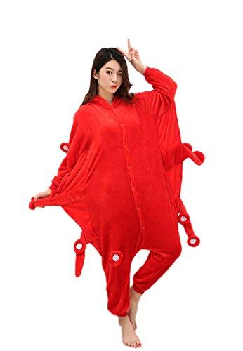 [Datandep Adult Pyjamas Animal Cosplay Onesie Unisex Sleeping Wear Small Octopus X-Large] (Red Octopus Pajama Costumes)