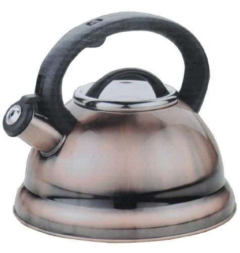 Alpine Antic Finish Encapsulated Base 18/10 Stainless Steel Whistling Tea Kettle Pot
