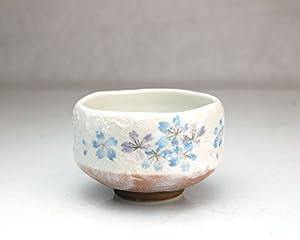 Ryu Mei Ippuku Shino Tataki Sakura Chawan (Matcha Bowl), Blue