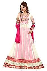 Priyanshu Creation Women's Net White Dress Material