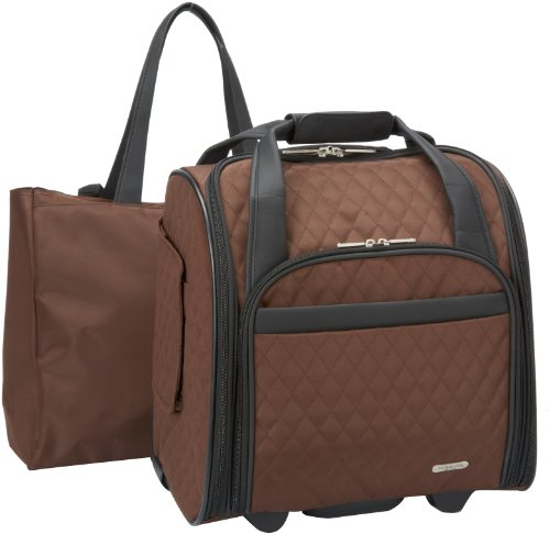 Travelon Luggage Wheeled Underseat Carry-On With Back-Up Bag In Quilted Microfiber, Chocolate, Small front-653562