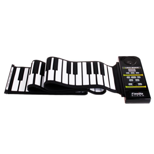 Wisedeal 88/61 Keys Flexible Foldable Soft Portable Electric Digital Roll Up Keyboard Piano-128 Different Synthesized Tones With A Wisedeal Keychain Gift(Black)