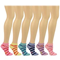 Casual Summer Spring Music Notes Striped 6 Pairs Ankle Low Socks Cotton Set