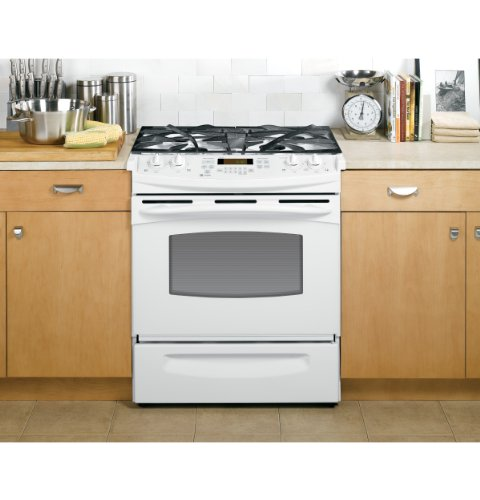 ge profile 30 inch slidein white gas range featuring 4 sealed burners pgs908depww