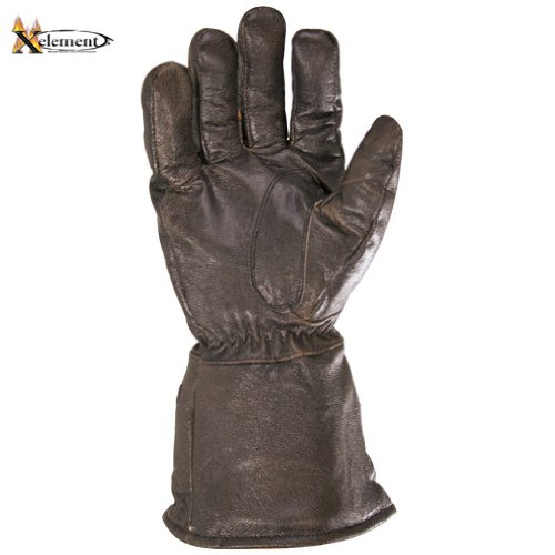 Xelement Driving Retro Mens Brown Leather Gauntlet Motorcycle Gloves - Large 1
