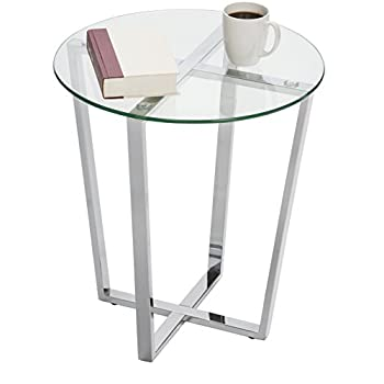Mango Steam Metro Glass End Table - Clear Top / Chrome Base