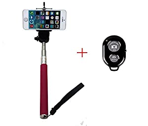 AFUNTA Extendable Camera Self Selfie Portrait Shooting Pole Adjustable Handheld Stick Monopod Pod with 1/4 inch Screw Hole Adjustable Smartphone Adapter Monopod Mount Phone Holder for iPhone 4 / 4S / 5 / 5s / 5c, HTC One LG Sony, Samsung Galaxy S5 S4 S3, Nexus Mobile Cell Phone - RosePink + Bluetooth Remote Camera Wireless Shutter - Black