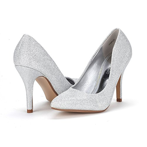 DREAM PAIRS TAYLER Women's Elegant High Heels Pointy Close Toe Stiletto Pumps Shoes Silver Size 8.5