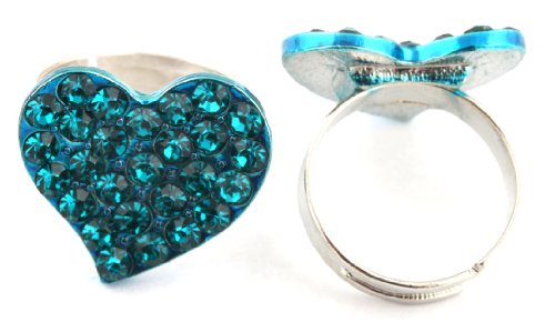 Ladies Iced Out Light Blue Heart Metal Adjustable Finger Ring