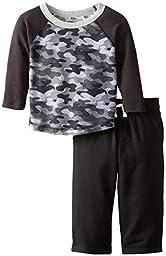Gerber Graduates Baby Boys\' Long Sleeve Top and Black Pant Set, Camo, 12 Months