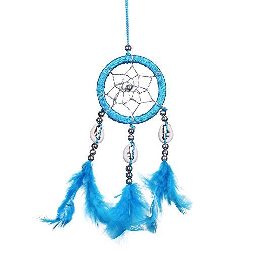 "Lot of 3 Mini Dream Catcher Pure Blue Pink and White Traditonal Native American Dreamcatcher with Feathers 2.4"" Diameter 10"" Long Wall or Car Hanging Ornament Key Chain Ornaments"