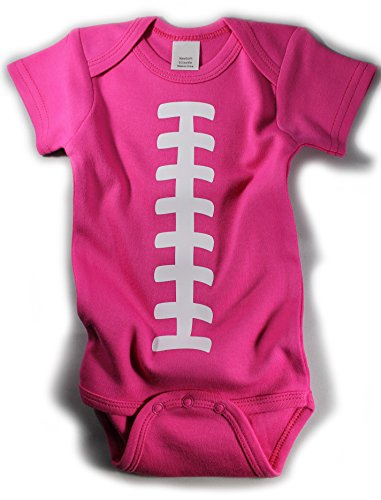 Baby Football One Piece Bodysuit Outfit Hot Pink (3-6 months) (Baby Girl Football Outfit compare prices)