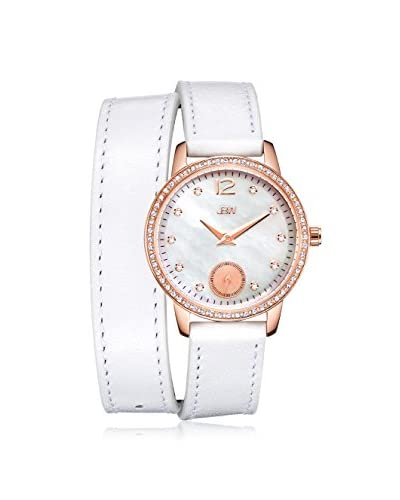 JBW Women's J6324A Savannah Diamond & White Mother-of-Pearl Rose/White Leather Watch