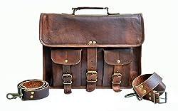 Jaald Mens Genuine Leather Large Laptop Bag Messanger Bag for Upto 14