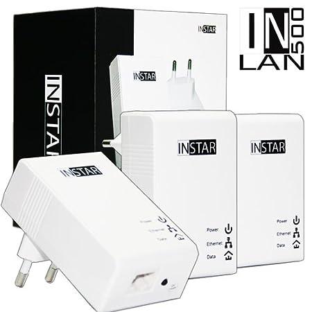 INSTAR 100370 Kit de démarrage 3 adaptateurs CPL avec prise de courant intégrée 500 Mbps Blanc 2 W