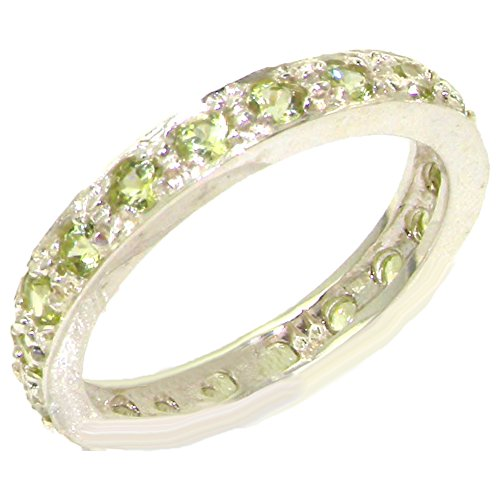925 Sterling Silver Natural Peridot Womens Eternity Ring