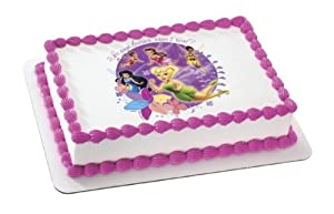 "Disneys Tinkerbell ""Who Says Fairies Aren't Real?"" Personalized Edible Image Cake Topper"