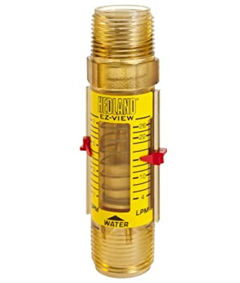 "Hedland H621-007-R EZ-View Flowmeter, Polyphenylsulfone, For Use With Water, 1.0 - 7 gpm Flow Range, 1"" NPT Male"