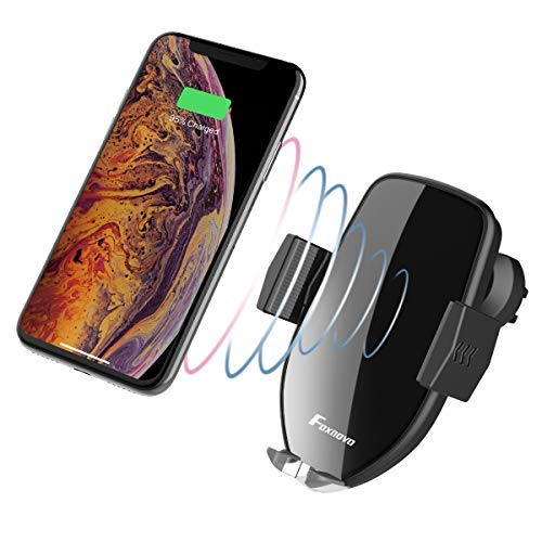 Foxnovo 10w Fast Qi Wireless Car Charger Holder, One-Hand Operation Touch Sensitive Air Vent Phone Mount Compatible with iPhone Xs/XR/8 Plus Samsung G