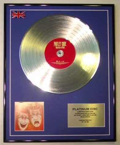 MOTLEY CRUE/LTD EDITION CD PLATINUM DISC/THEATRE OF PAIN
