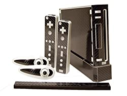 Nintendo Wii Skin New Carbon Fiber System Skins Faceplate Decal Mod